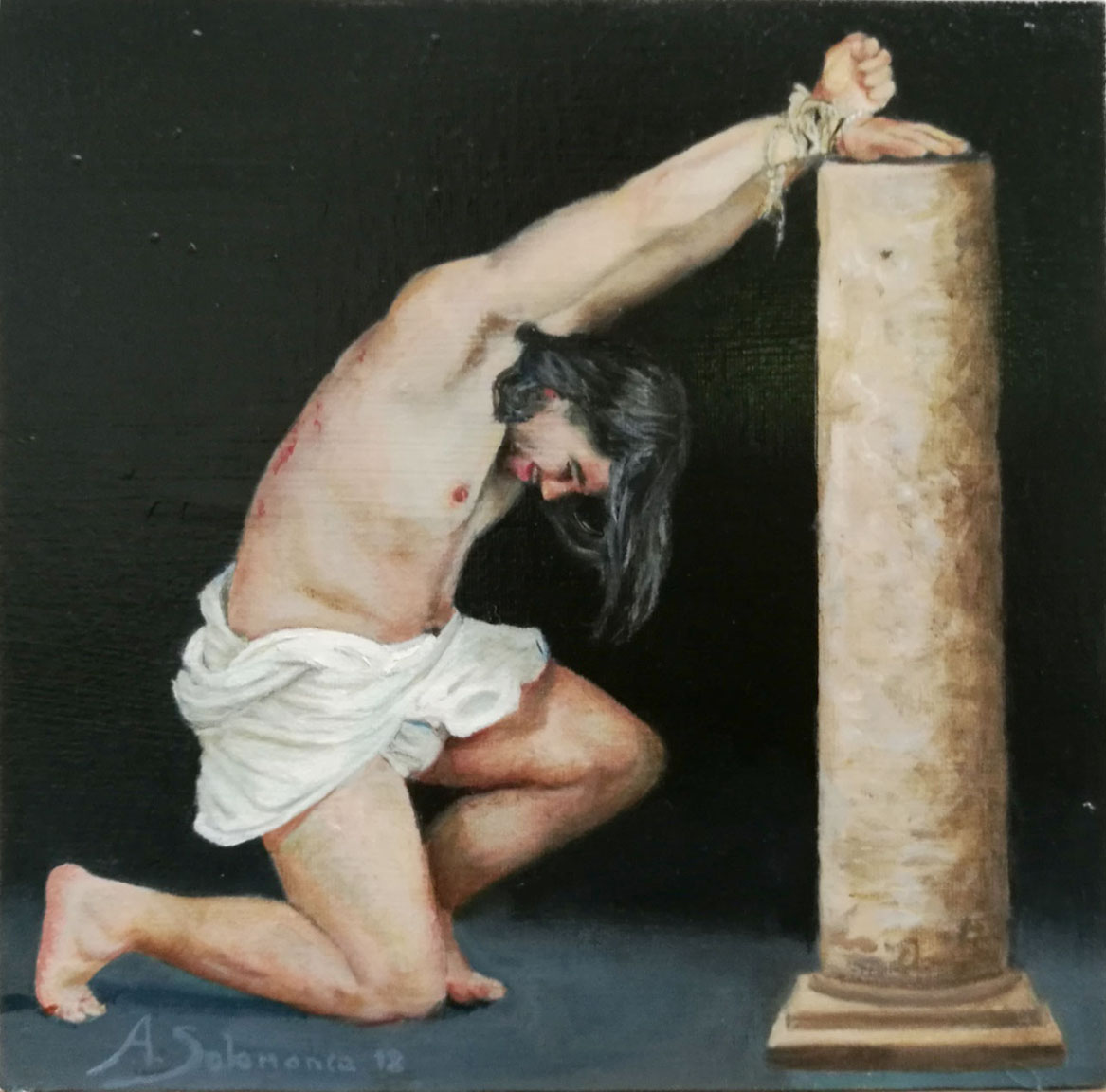 """Cristo en la columna"" óleo sobre tabla de 20x20 cm"