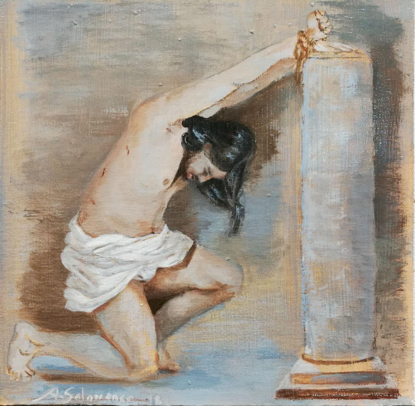 "Boceto ""Cristo en la columna"" óleo sobre tabla de 20x20 cm"