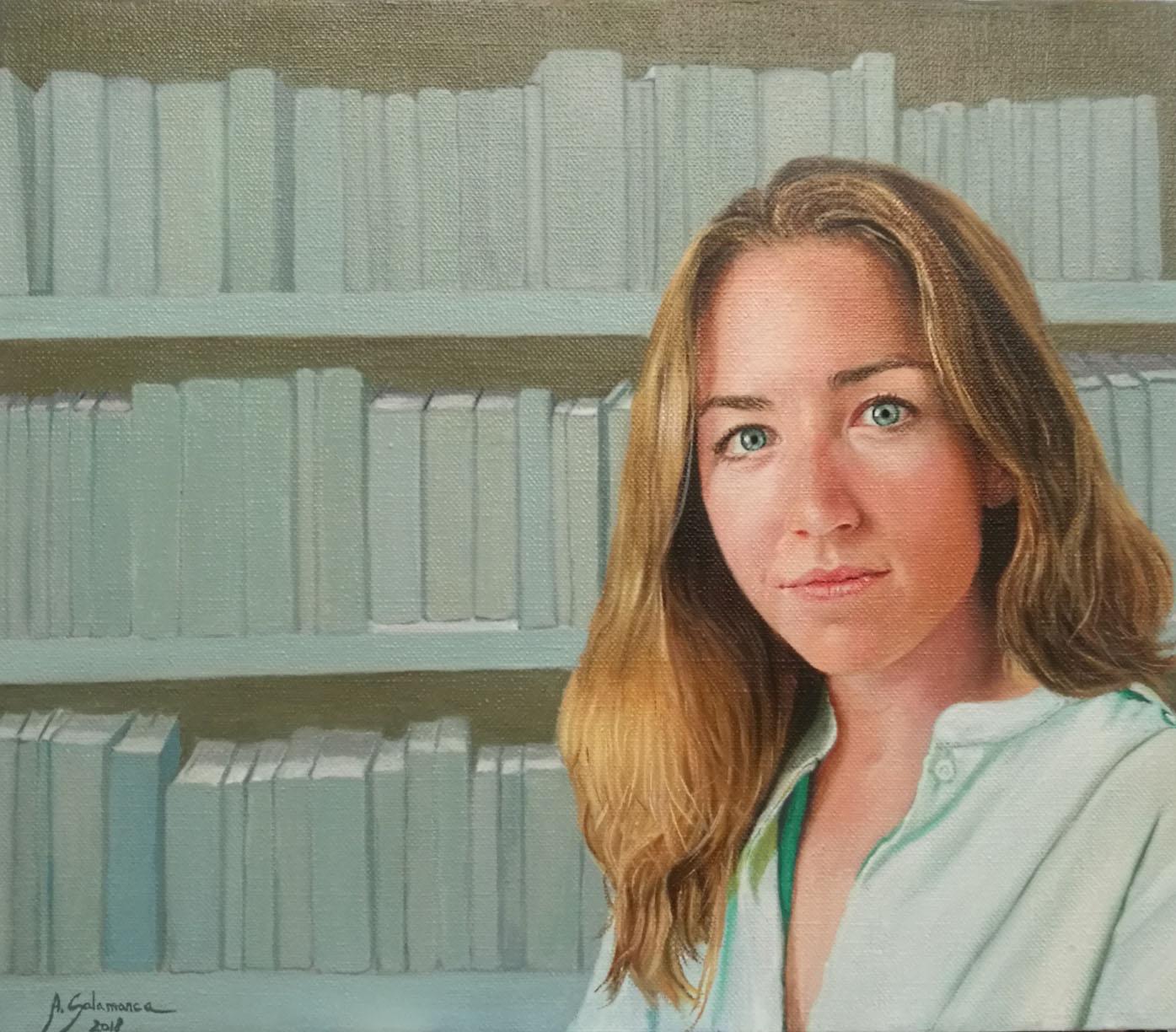 """""""Retrato de Alejandra"""" óleo sobre lienzo de 46 x 54 cm"""